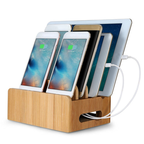 Bamboo Multi-function Mobile Device Organizer & Charging Station For Smart Phone & Tablets