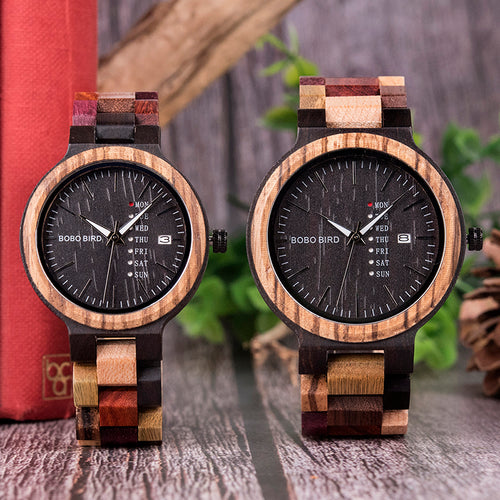 BOBO BIRD P14 Unique Mixed Colored Wooden Watch For Men & Women
