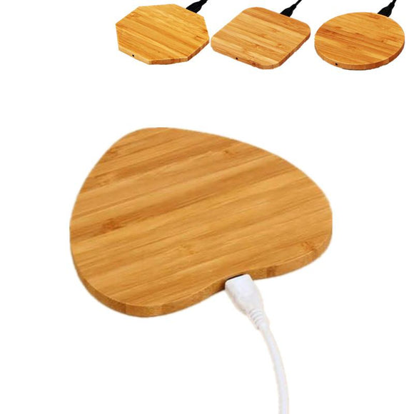 Heart Shape Wood Bamboo Qi Wireless Charger Desktop Charging Pad For iPhone - Ace198