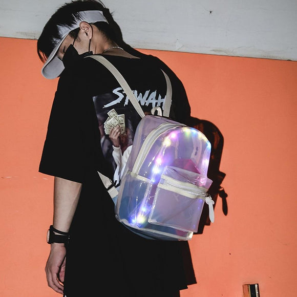 LED Light Transparent School Backpack