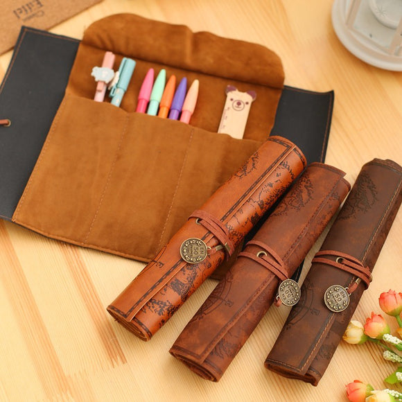 Retro Leather Pencil bag pencil pouch case school supplies pencil case plumier scolaire pencil pouch cute stationary