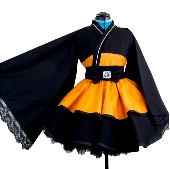 JP Anime Naruto Shippuden Uzumaki Naruto cosplay costumes Lolita Kimono cosplay Costume Halloween Dress