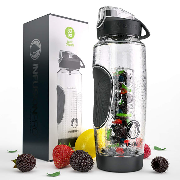 32 oz. Fruit Water Bottle Infuser with Insulated Sleeve & Infusion eBook :: Bottom Loading, Large Cage for More Flavor & Pulp Strainer :: Delicious, Healthy Way to Up Your Water Intake