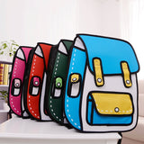 3D Jump Style 2D Drawing Cartoon Paper Bag Comic Backpack Messenger Tote Fashion Cute Student Bags Unisex Bolos - Ace198
