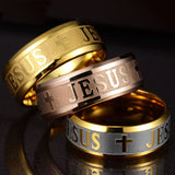 Stainless Steel Letter Bible Rings Jesus Cross Ring - Ace198