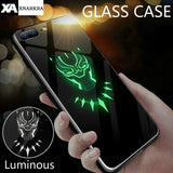 Marvel Batman Superman Spiderman Luminous Glass Case For iphone 7 8 6 6s Plus X Xs Max Xr Avengers Black Panther iron Man Cover - Ace198