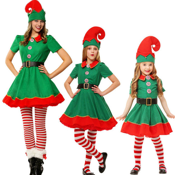 Adult Ladies/Kids Polyester Party Little Elf Cute Costume Christmas Funny Cosplay