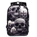 3D Skull Laptop Backpack for Men Punk Rock Printing School Backpack Casual School Bags - Ace198