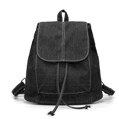Denim Canvas Women Backpack Drawstring School Bags