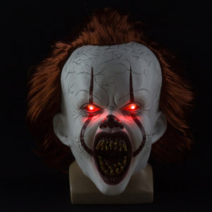 Latex Mask Halloween Party Mask It Movie Mask Mascaras Halloween Cosplay Men Led Light Wig Headgear Horror Scary Masks