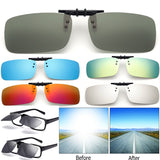 Cool Polarized Mirrored UV400 Lens Clips On Sunglasses Driving Night Vision Lens Sun Glasses Male Anti-UVA For Men Women