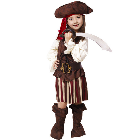 Children Girls Elis Pirate Captain Cosplay costume Purim New Year Christmas Carnival Party Dress
