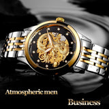 3D Dragon Skeleton Automatic Mechanical Watches For Men Wrist Watch Stainless Steel Strap Gold Clock 50m Waterproof - Ace198