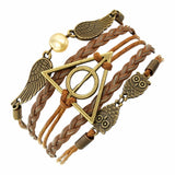 Vintage leather rope harry potter Deathly Hallows bracelet