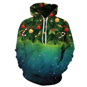 Men Women 3d Sweatshirts Green Christmas Tree Cosplay Hoodies