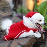 Pet Dog Cat Winter Warm Hat Cloak Set Pet Cosplay Costume  Fashionable Christmas Elf Style Pet Dog Sweater Sets