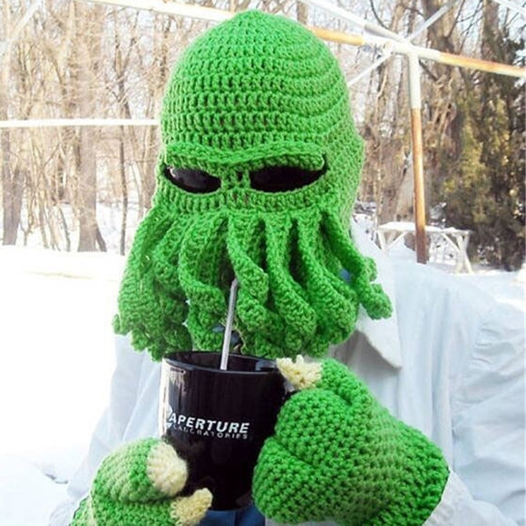 2019 Novelty Funny Party Octopus Beard Hat Unisex Animal Cthulu Crocheted Tentacle Knit Wind Mask Ski Cap Halloween Hats - Ace198