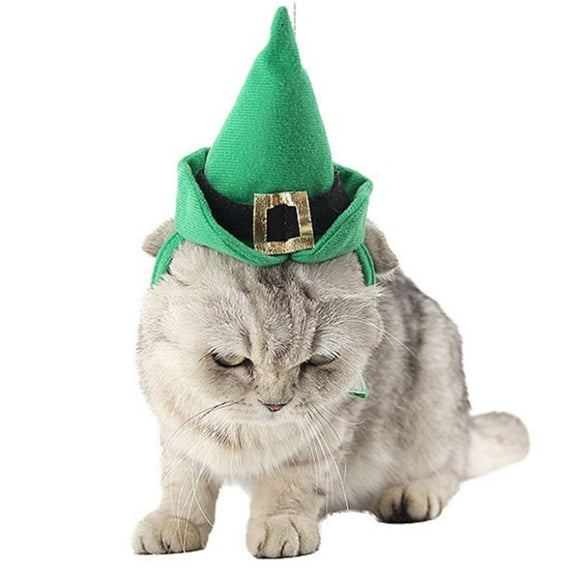 Polyester Pet Cone Hat And Collar Set For Christmas Dogs Cats Festival Decoration Costume Christmas Cosplay Dress Up For Dog Cat