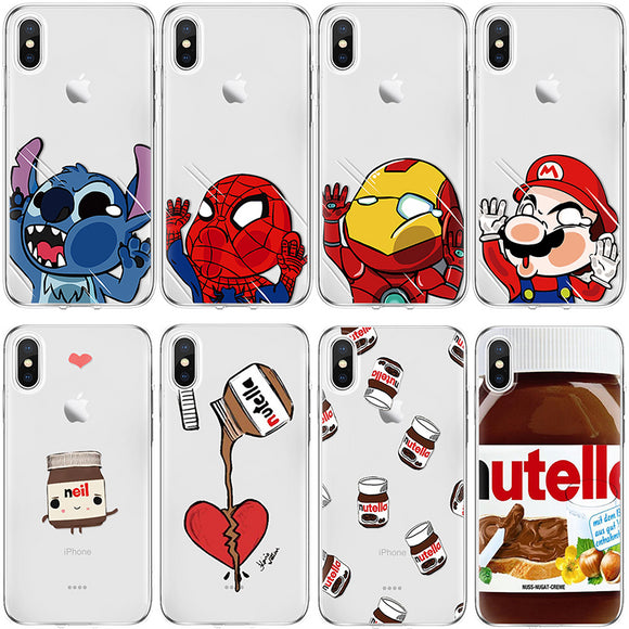 Phone Case For iPhone 7 8 Plus 6 s 6s Cartoon Jam Spiderman For iPhone X 4 4S 5 5S SE 5C Fundas For iPhone Xs Max XR TPU Cover - Ace198