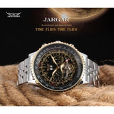 JARAGAR Men Day/Month Tourbillon Mechanical Watches Steel Band with Gift Box - Ace198