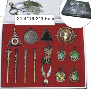 Harry Potter Merchandise Gifts Mini Wand Set and Hogwarts House Badge with Keychain Necklaces Kids Toys