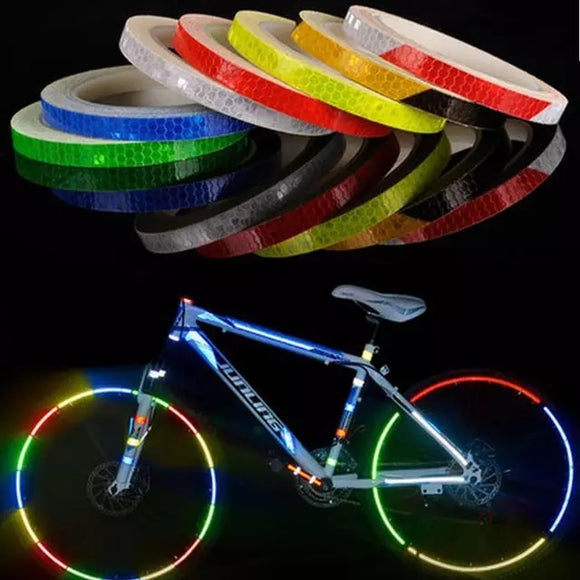 Bicycle reflective stickers mountain bike bicycle motorcycle fluorescent decal tape safety warning riding accessories