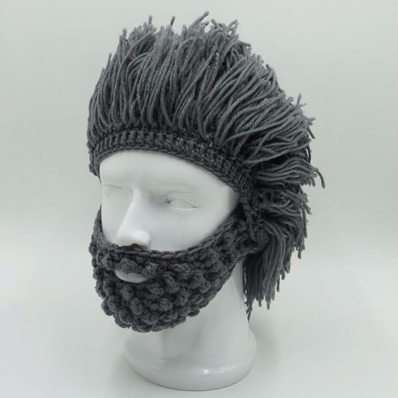 NaroFace Handmade Knitted Men Winter Crochet Mustache Hat Beard Beanies Face Tassel Bicycle Mask Ski Warm Cap Funny Hat - Ace198