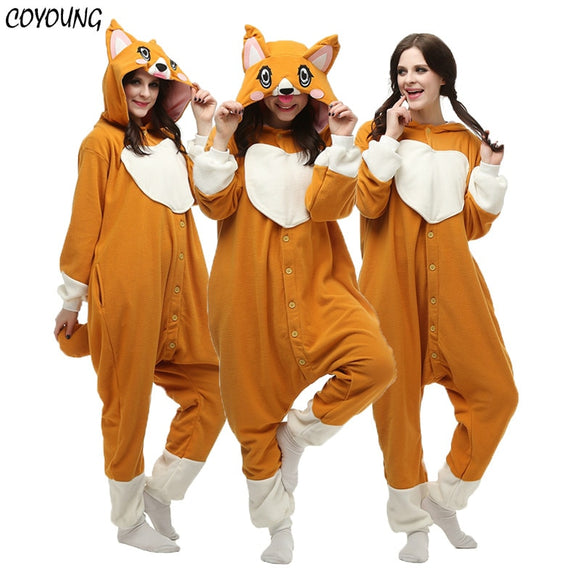 Adult Women Men Welsh Corgi Onesie Winter Warm Cute Dog Pajamas Cartoon Animal Halloween Cosplay Costumes Unisex Top