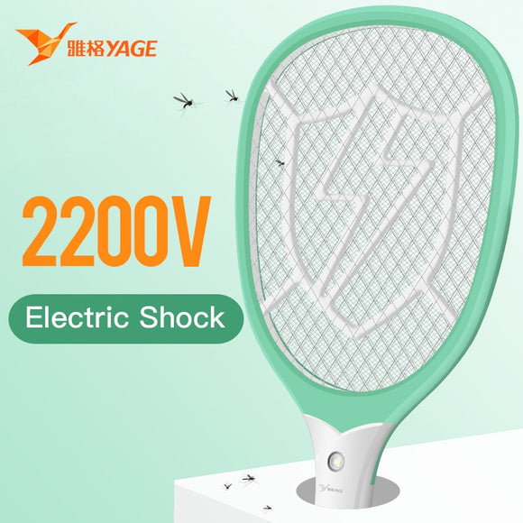 YAGE 18650 Rechargeable Electric Fly Trap Mosquito Killers Pest Control USB Bug Zapper Reject Racket Trap 2200V Electric Shock