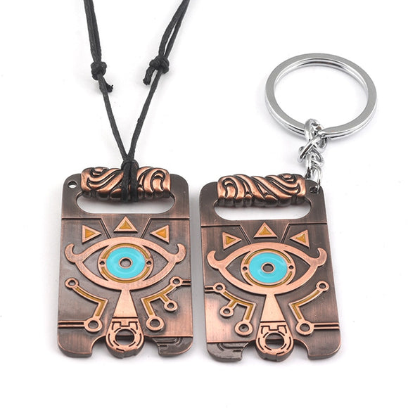 The Legend of Zelda Sheikah Slate Breath of the Wild Keychain Cosplay Pendant Keyring Key Chain Necklace