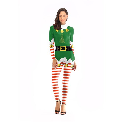Belt Printed Jumpsuit Christmas Costume Cosplay Striped Small Bell Costumes For Women Plus Size Bodysuit