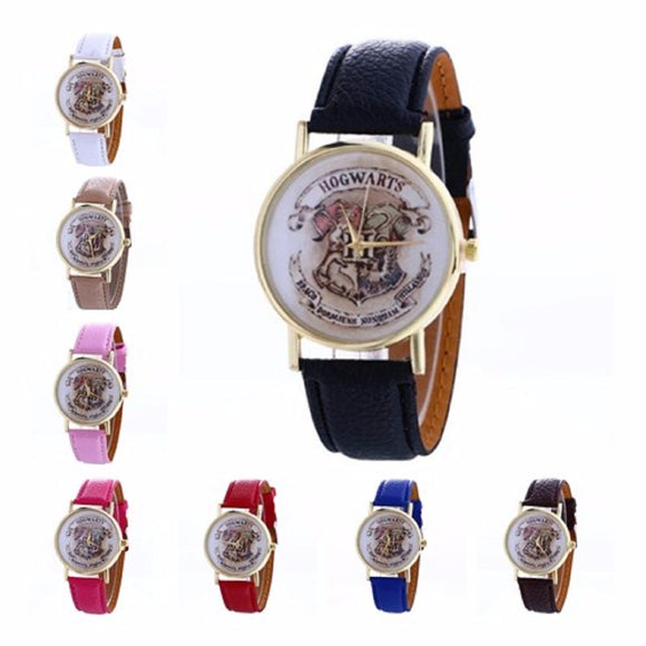 Harry Potter Hogwarts Magic School Watch Hogwarts Magic Pattern Badges Leather Watch