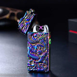 Chinese  Dragon Relief Double Arc Usb Lighter Plasma Windproof Electric Lighter Punk Style Metal Flameless Cigarette Lighter - Ace198
