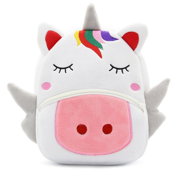 Children School Backpack Cartoon Rainbow Unicorn Design Soft Plush Material For Toddler Baby Girls Kindergarten Kids School Bags
