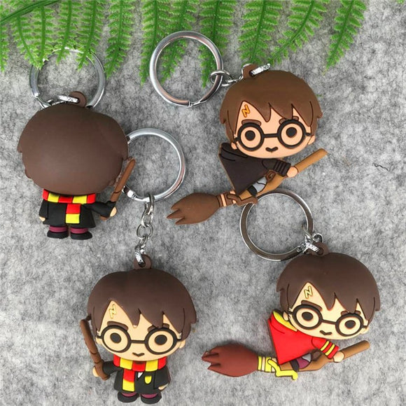 3D Harry Potter PVC Keychain Toy Dobby Hermione Granger Malfoy Ron Weasley Snape Action Figure Toys Party Cosplay PVC Key Ring