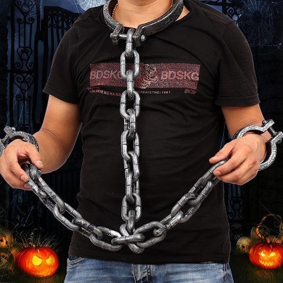 Halloween Props Chain Handcuffs Cosplay Prisoners Dress Up Handcuff Wrist Shackles Tooks Costume Party Trick Props Supplies
