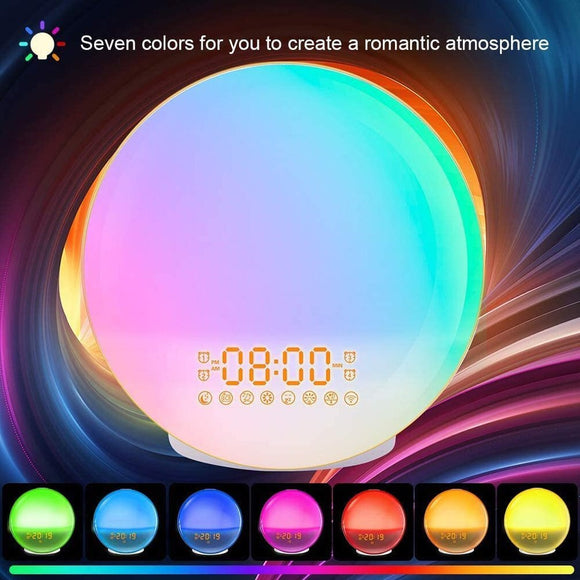 Smart voice colourful light alarm clock sunrise and sunset wake up sleep led night light