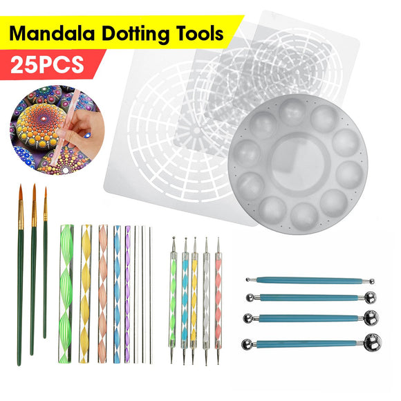25pcs Mandala Dotting Tools for Painting Rocks Mandala Painting Dotting Stencil Dot Mandala Kit Nail Rock Fabric Wall Art