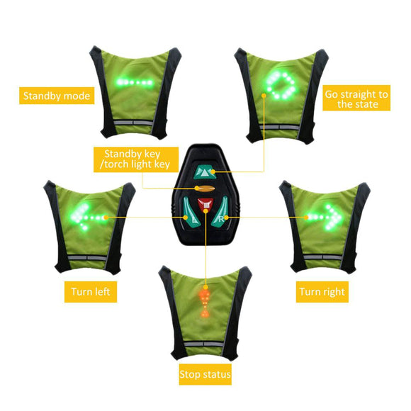 LED Wireless cycling vest 20L MTB bike bag Safety LED Turn Signal Light Vest Bicycle Reflective Warning Vests with remote