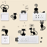 Lovely Cat Light Switch Phone Wall Stickers For Kids Rooms Diy Home Decoration Cartoon Animals Wall Decals Pvc Mural Art - Ace198