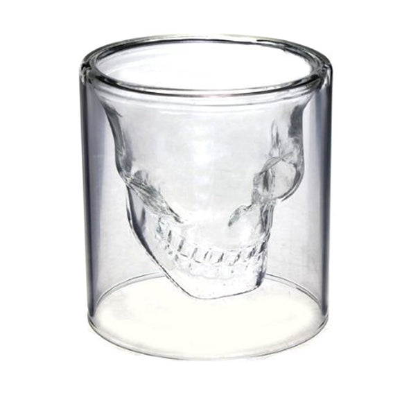 Skull Shot Glass Crystal Glasses,Double Layer Transparent Skull Pirate Shotglasses Drink Cocktail Creative Beer Cup - Ace198