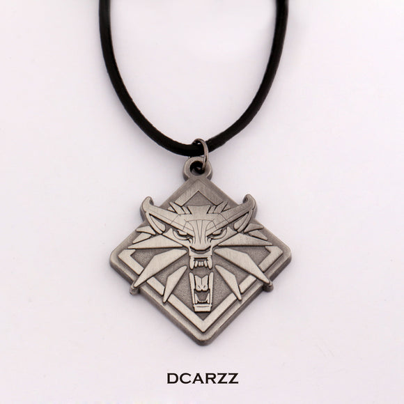 Witcher 3 Wolf Head Pendant with Leather Cord Long Necklace Wild Hunt Men Choker Bib Statement Necklace Game Cosplay Accessories