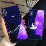 Glass Moon Stars Astronaut Case For iPhone X Phone Cases For iPhone 7 8 6 6S Plus Glossy Dolphin Wolf Hard Back Cover - Ace198