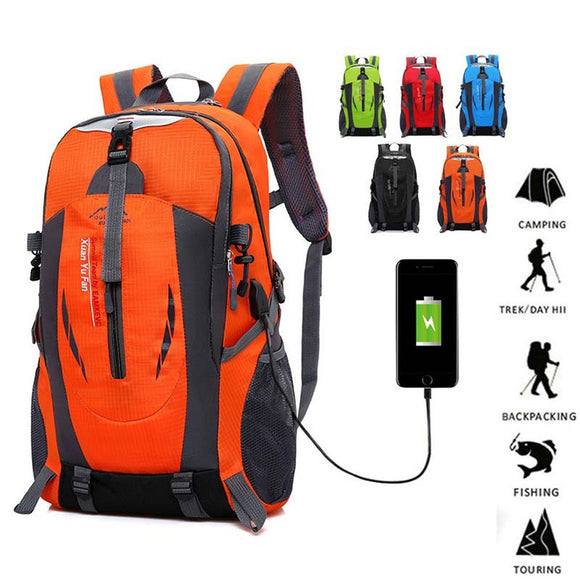50L USB Jack Outdoor Hiking Sport Trekking Fishing Waterproof Camping Men and Women Couples Shoulder Bag Backpack Mountaineering - Ace198