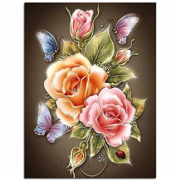 Flowers Butterfly Rose Resin Full diy diamond painting diamond mosaic beadwork embroidery Gift making tools - Ace198