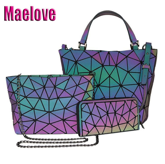 Maelove  Luminous bag 1set  Geometry Laser Plain Folding Handbag Diamond Tote Quilted Shoulder bag geometry purse Free Shipping - Ace198