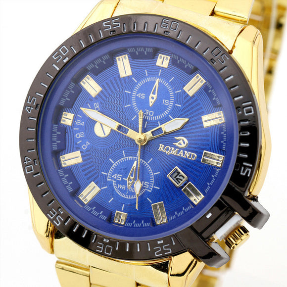Luxury Mens Black Dial Gold Stainless Steel Date Quartz Analog Sport Wrist Watch - Ace198