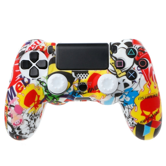 OCDAY Anti-Slip Multicolor Silicone Cover Skin Case + 2 Thumbsticks Grips For PS4 Pro Slim Controller Z07 - Ace198