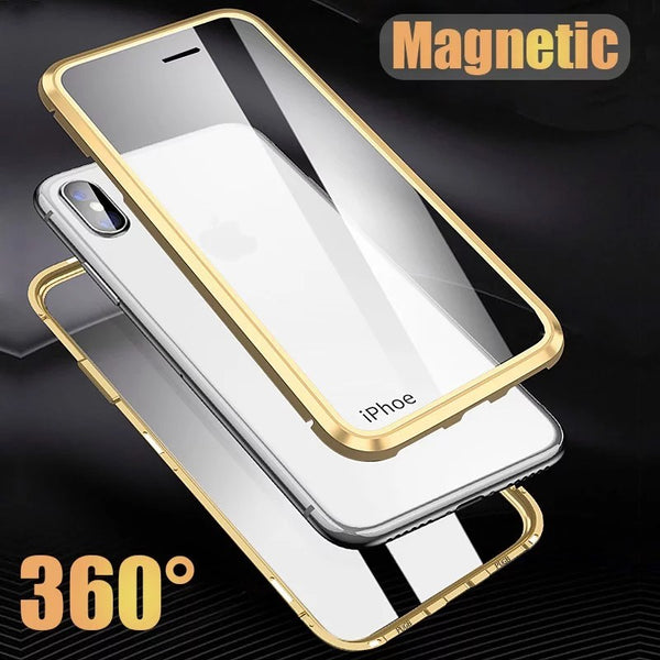 Luxury Front Glass + Back Glass Magnetic Adsorption Metal Bumper Frame Case for Apple iPhone X