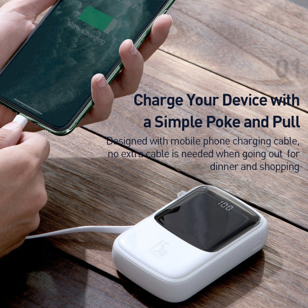 Baseus® 15Watt QC 3.0 10000mAh Certified PD PowerBank with Display with Inbuilt Cable